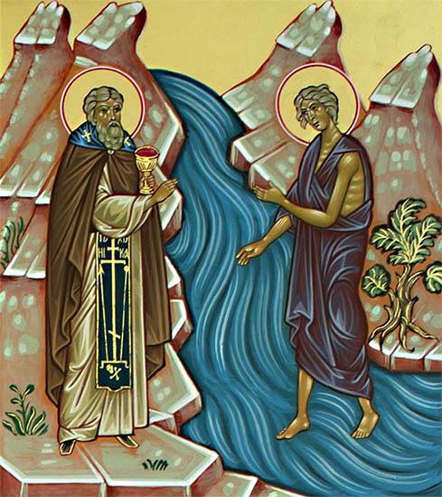 Мария Египетская идет через Иордан