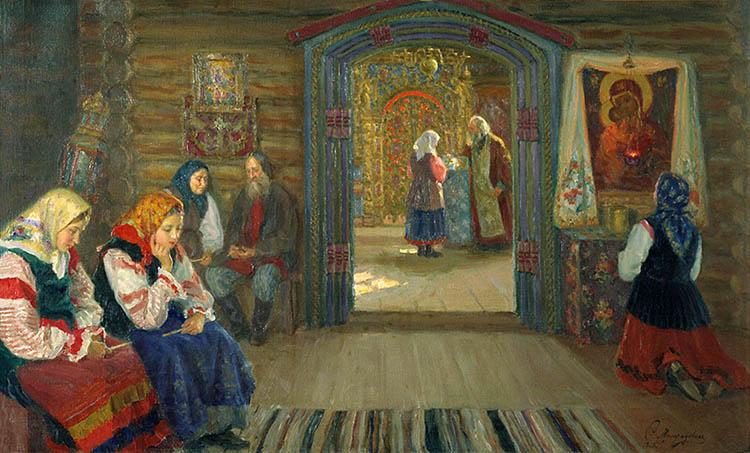 Молитва в храме перед образом Богородицы