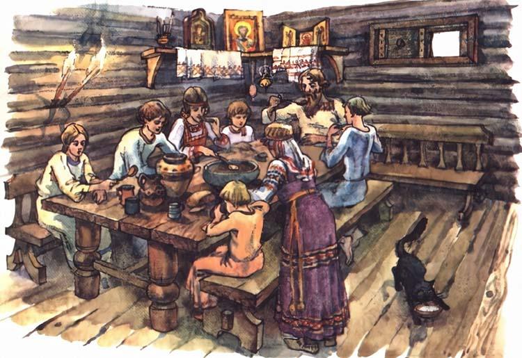 Семья за столом на Руси
