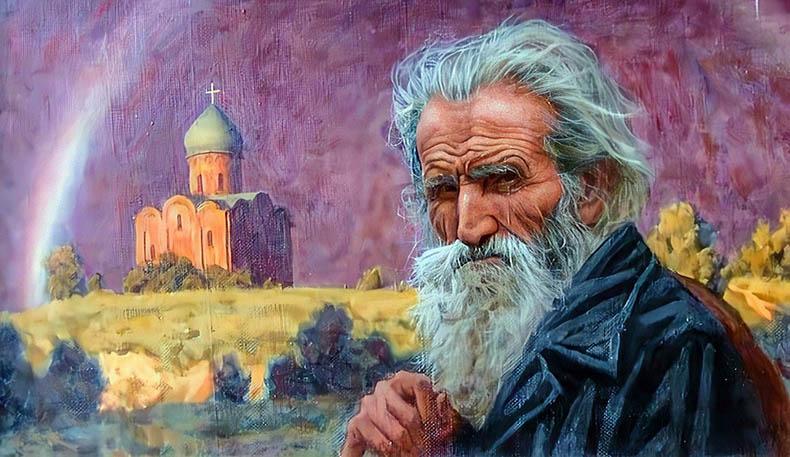 Старик на фоне храма