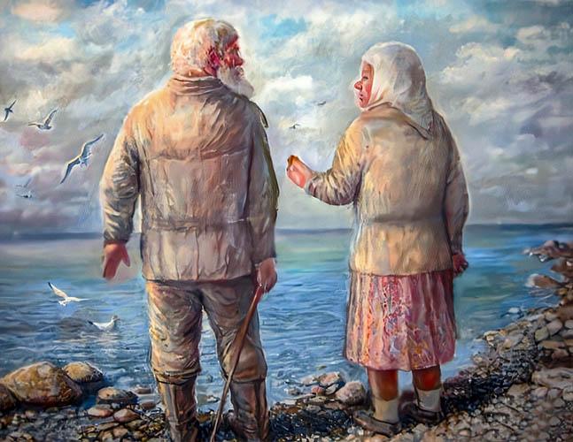 Бабушка и дедушка у воды