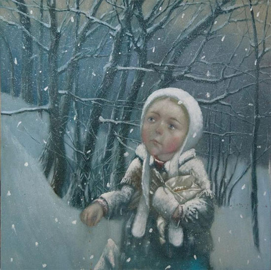 Девочка в лесу зимой