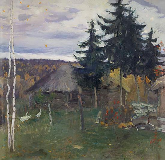 Картина Нестерова - «Осень в деревне»