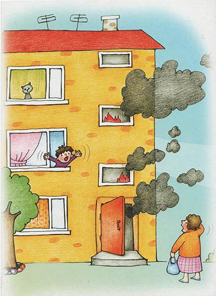 Мальчик в окне горящего дома