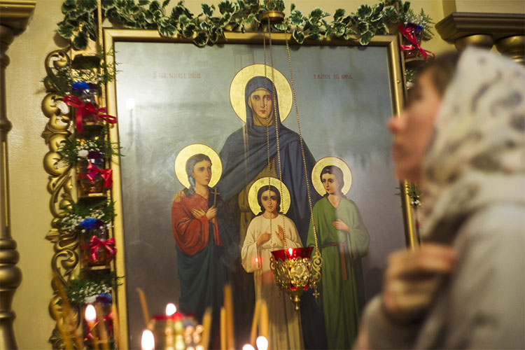 Образ Веры, Надежды, Любови и матери их Софии в храме