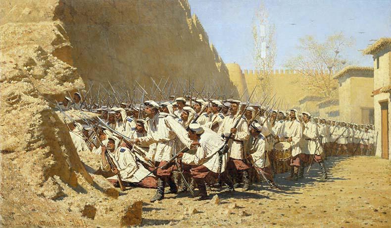 Русский гарнизон у крепостной стены
