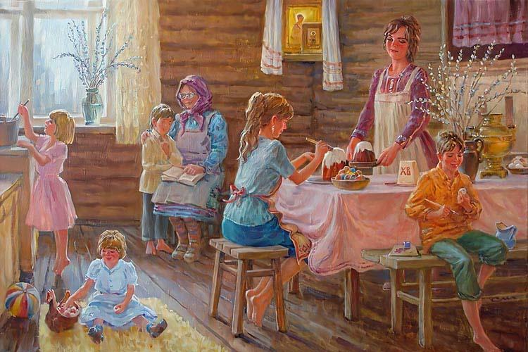 Семья готовится к Пасхе