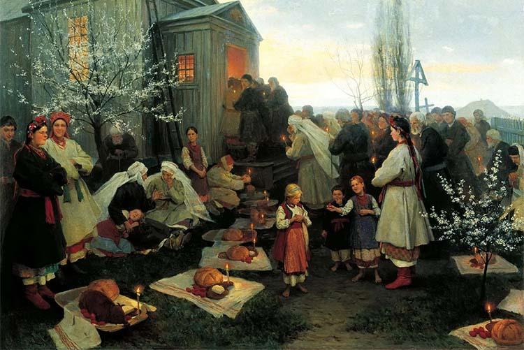 Возле храма на Пасху на Руси