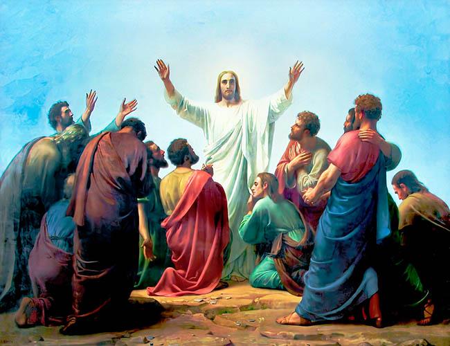 Христос с учениками перед Вознесением