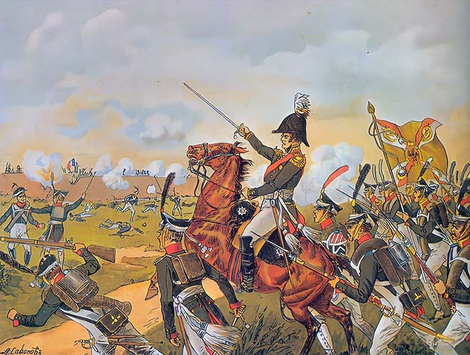 Контратака Алексея Ермолова на захваченную батарею Раевского в ходе Бородинского сражения