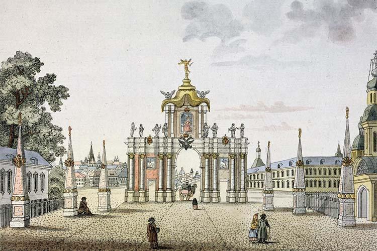 Красные ворота в Москве. Гравюра XVIII века