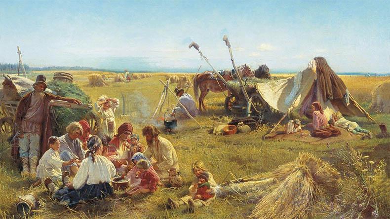 Крестьянский обед в поле