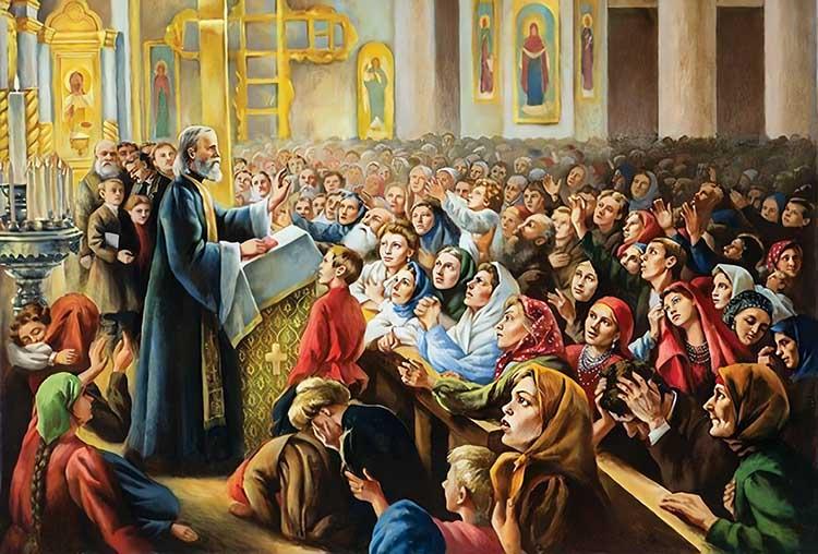 Праведный Иоанн Кронштадтский в храме