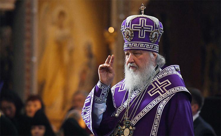 Святейший Патриарх Кирилл в фиолетовом облачении