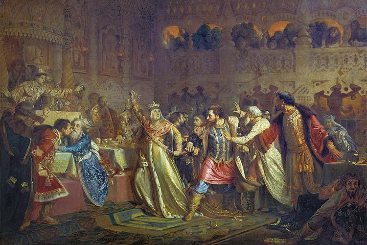 «Великая княгиня Софья Витовтовна, срывающая пояс с Василия Косого на свадьбе Василия Темного»
