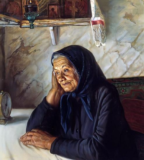 Задумчивая бабушка