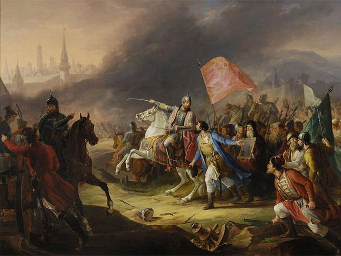 Князь Пожарский в битве под Москвой