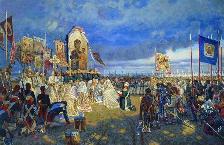 Кутузов молится перед образом Пресвятой Богородицы