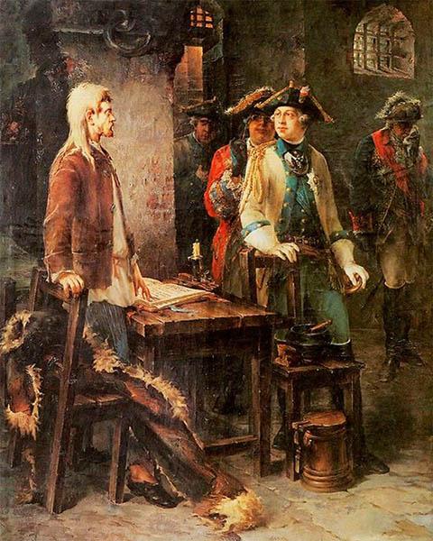 Пётр III посещает Иоанна Антоновича в его шлиссельбургской камере