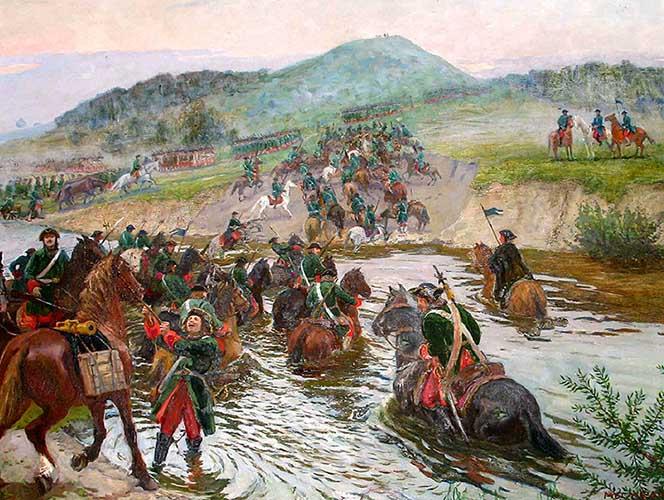 Русские войска переправляются через реку