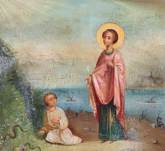 Великомученик Пантелеимон исцеляет мальчика