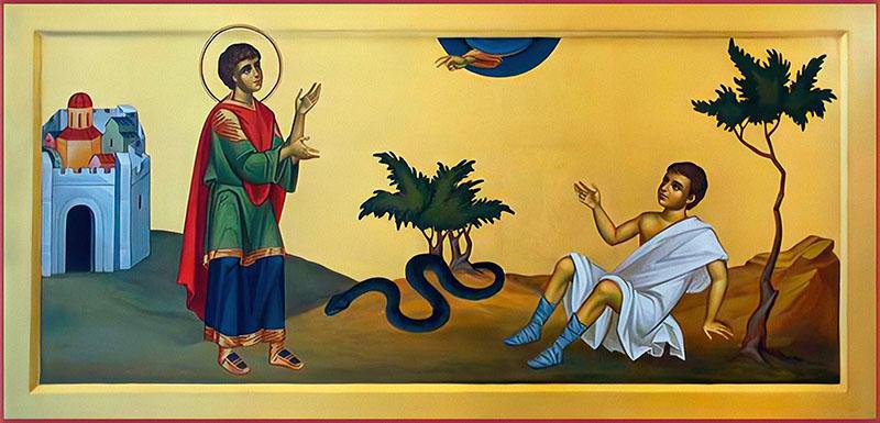 Великомученик Пантелеимон исцеляет ребенка