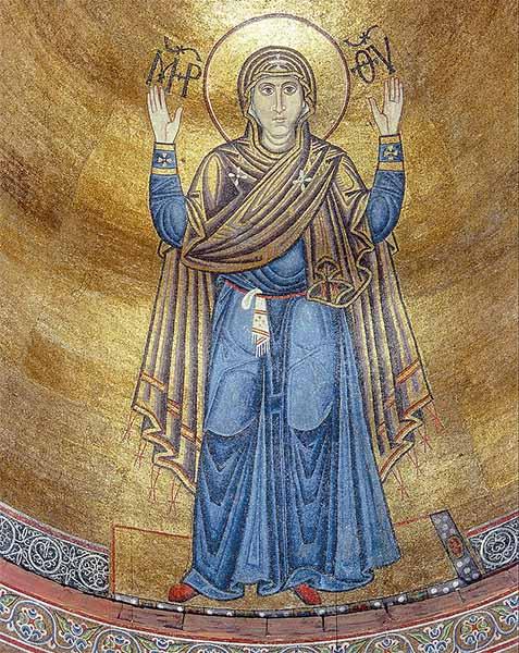 Богоматерь Оранта (Нерушимая Стена). Мозаика в алтаре собора, XI век