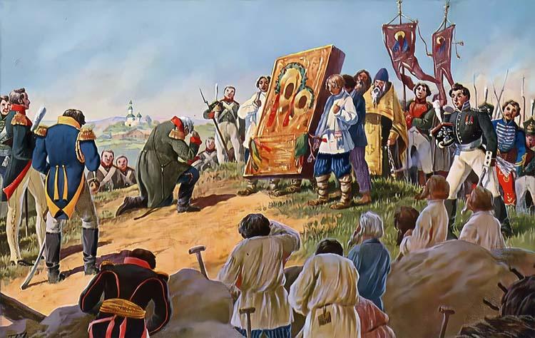 Кутузов накануне Бородинского сражения пред Смоленской иконой