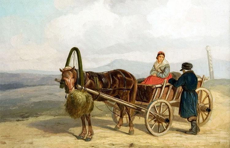 Мужчина и женщина на телеге