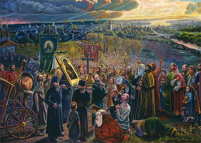 Сретенье иконы Владимирской Богоматери жителями Москвы в 1395 году на Кучковом поле