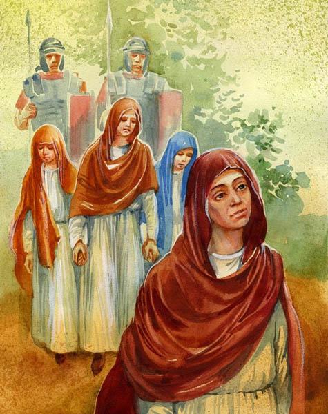 Стража ведет Веру, Надежду, Любовь и мать их Софию