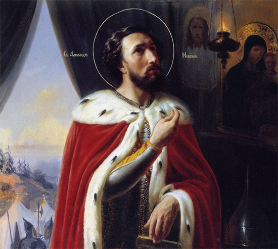 Святой Александр Невский молится