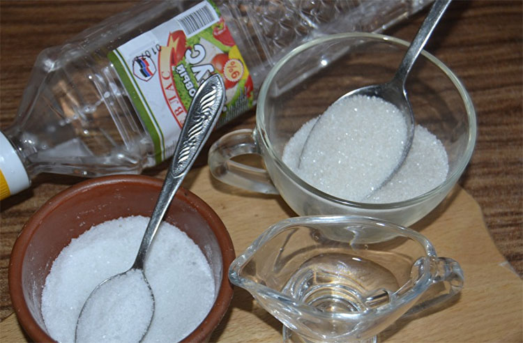 Уксус, сахар, соль