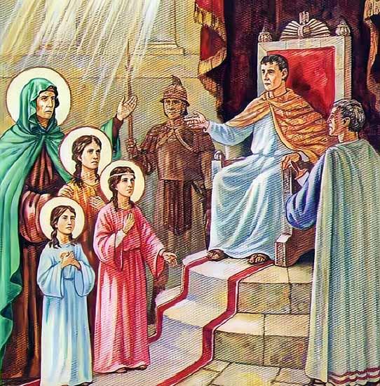 Вера, Надежда, Любовь и матерь их София у императора