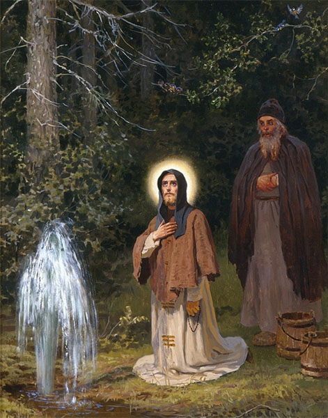 Преподобный Сергий Радонежский у источника воды