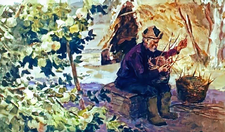 Старик плетет корзину
