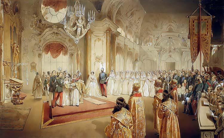 Свадьба Александра Александровича и Марии Фёдоровны в Большой церкви Зимнего дворца